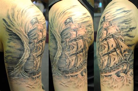 storm tattoos pirate ship in a by george scharfenberg tattoonow