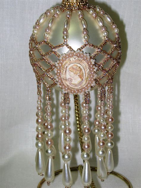 beaded ornament covers pattern beaded ornament cover pearl cameo