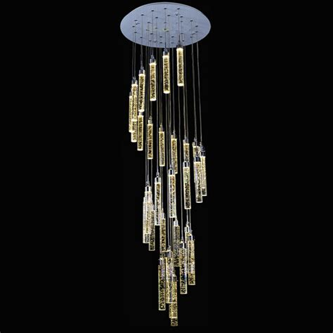 luxurious double entry stair large hanging led pendant