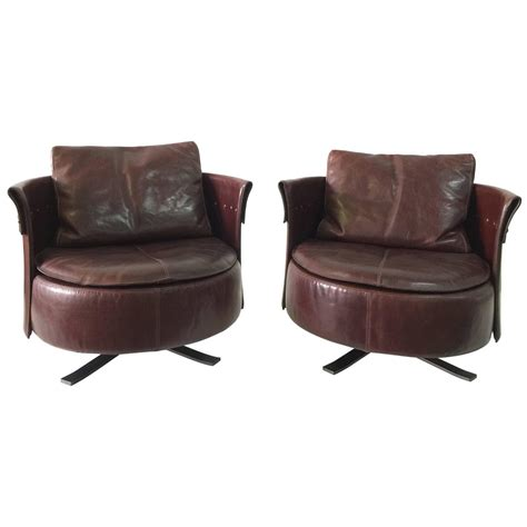 leather swivel armchairs pair of longhi stitched brown leather swivel armchairs at
