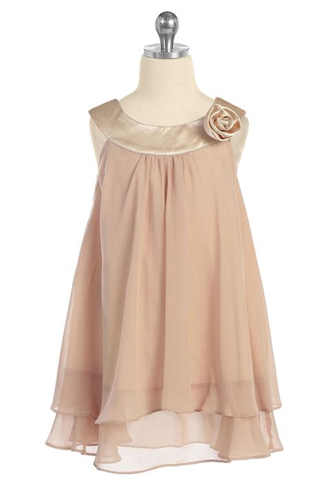 Dress Anak Size 6 chagne layered chiffon shift dress size 5 6 7 8 10 12 14 ebay