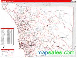 san diego county ca zip code wall map by marketmaps from