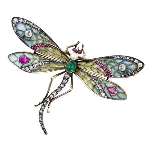 Art Nouveau Plique a Jour Dragonfly Brooch at 1stdibs