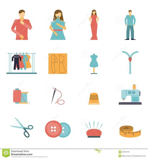 fashion design tools fashion designer tools icon set stock vector
