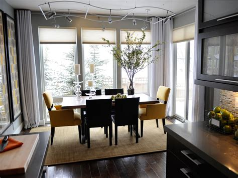contemporary gray dining room with track lighting hgtv