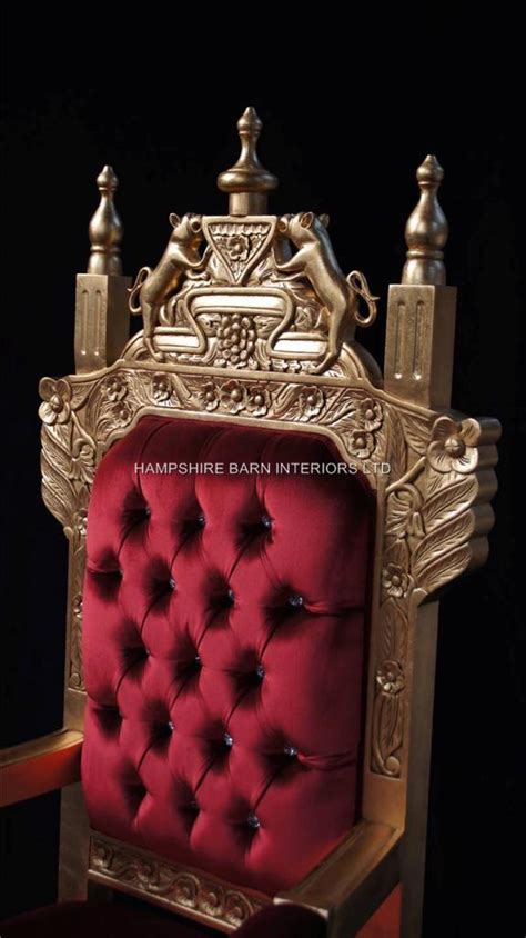 tudor royal throne chair gold  red velvet hampshire