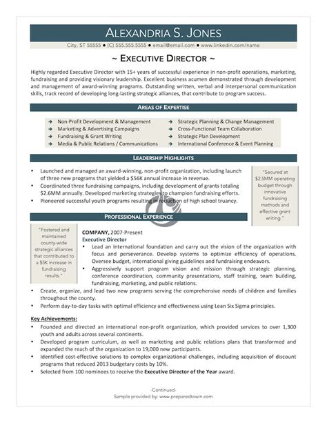 Executive Director Resume by Pin Executive Director Resume Exle 187 On
