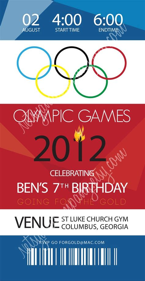 olympic birthday invitation by netsyandcompany on etsy