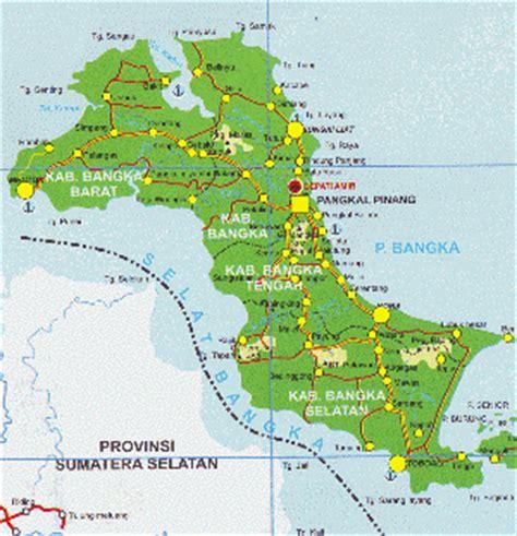 Peta Wisata Provinsi Kepulauan Bangka Belitung Kota Pangkalpinan H1051 haryoto sungailiat bangka peta pulau bangka