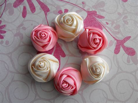 Handmade Ribbon Flowers - 6 handmade buds ribbon flowers in pink and by
