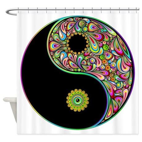 yin yang colors yin yang symbol psychedelic colors shower curtain by