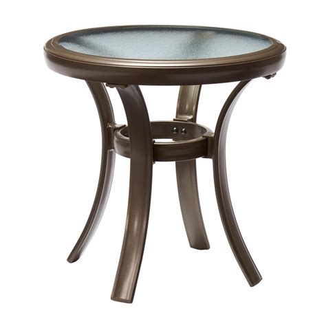 hton bay brown all weather wicker patio side table 66 20307 the home depot
