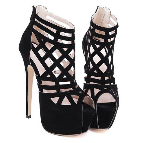 high heels for size 4 size 4 9 black zipper high heels pumps platform peep