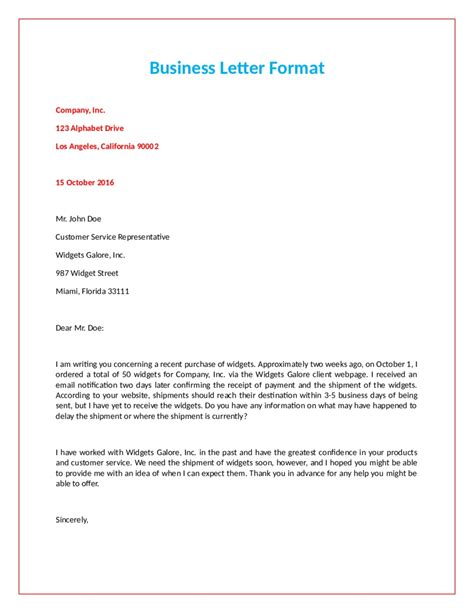 standard official letter format letters free sle