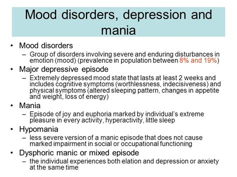 severe mood swings between major depressive episodes and manic episodes mood disorders and suicide ppt video online download