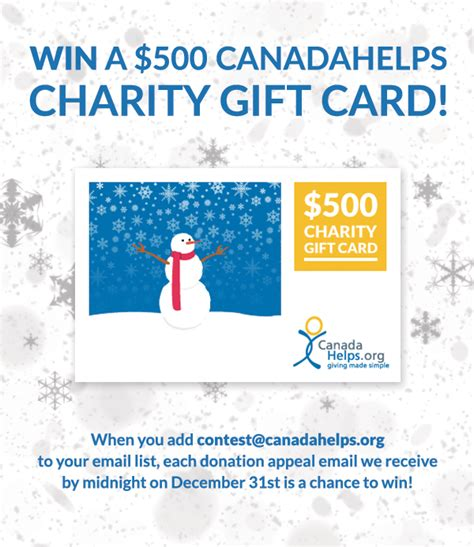 Charitable Gift Cards - win a 500 canadahelps charity gift card with your year end appeal canadahelps