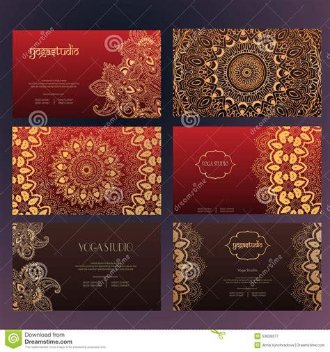 model set card templates mandalas business card 4 stock vector image 53626577