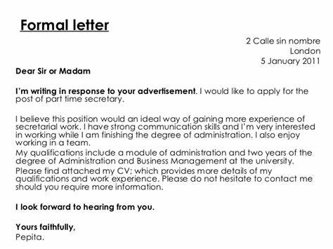 formal letter vs informal letter secretary cover letter sample - Cover Letter For Secretary