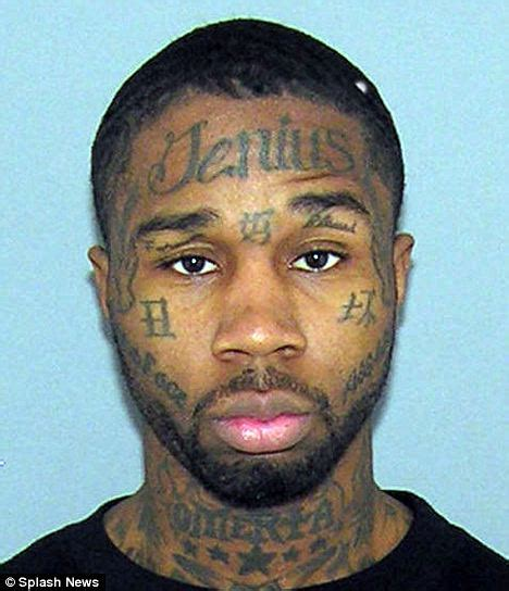 italian mafia tattoos jerome smith mugshot with misspelt genius