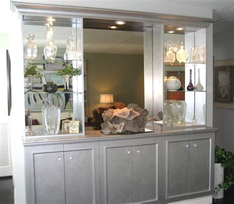 living room buffet mirrored built in buffet forest hill transitional