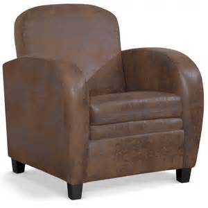 fauteuil club en simili cuir marron vintage tooshopping