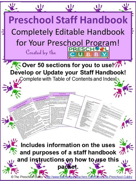 How To Develop Your Own Preschool Staff Handbook Preschool Plan It Child Care Employee Handbook Template