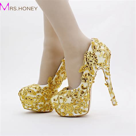 gold bridal shoes lace glitter formal dress shoes stiletto