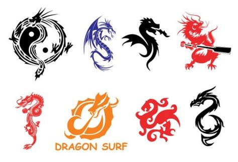 tattoo logo free food 8 chinese vector dragon symbols set welovesolo