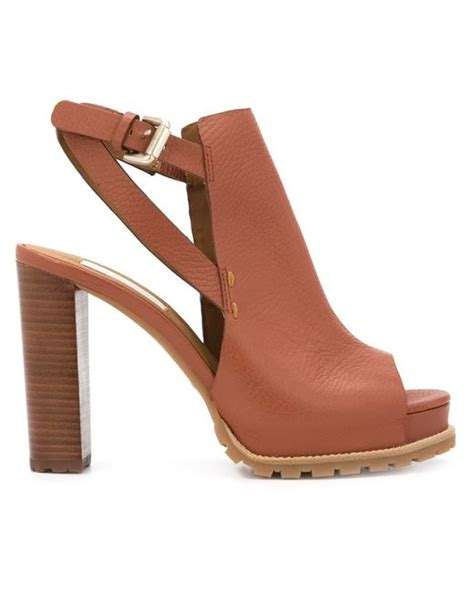 see by sandals see by chlo 233 chunky heel sandals in brown lyst