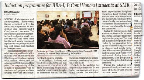 Mba Freshers In Raipur by Itm Raipur Institute Of Management