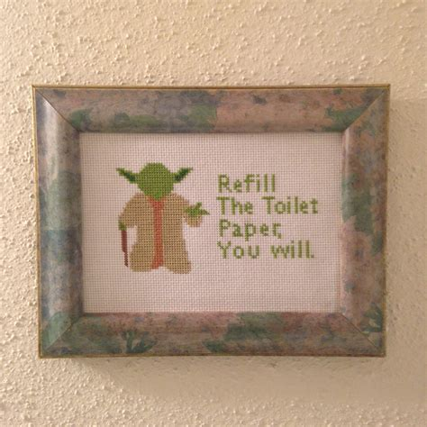 bathroom cross stitch patterns free star wars cross stitch pattern yoda bathroom advice