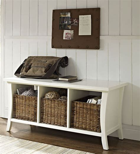 Entryway Table With Baskets Entryway Storage Bench With Baskets
