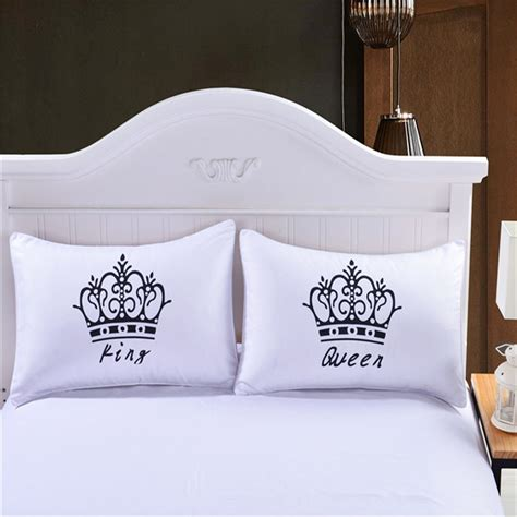 white bedding with accent pillows luxury crown king queen white decorative pillow case cover