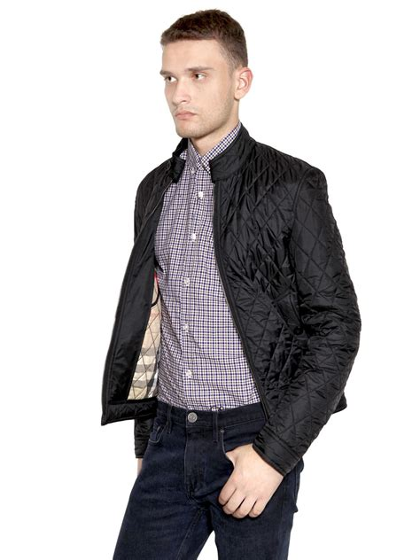 Kemeja Burberry Brit Classic Edition lyst burberry brit mandarin collar quilted casual jacket in black for
