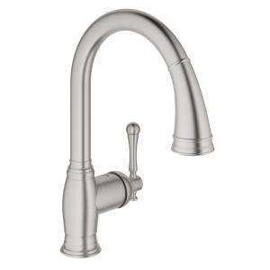 Grohe Bridgeford Kitchen Faucet Grohe Bridgeford Single Handle Pull Sprayer Kitchen Faucet In Supersteel Infinityfinish
