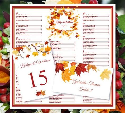 fall wedding place card templates wedding seating chart quot falling leaves quot fall autumn or