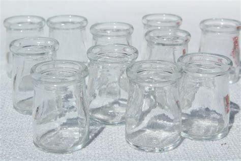 Pressed Glass Vases Mini Glass Cream Milk Bottles Lot Old Individual