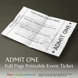 Ticket Template For Pages by Printable Page Ticket Template Free Printables