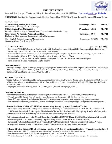 asic design resume resume ideas