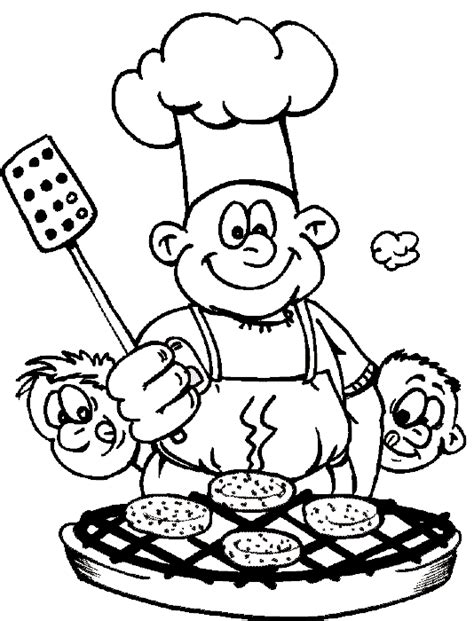 Summer Barbecue Coloring Book Page Bbq Cooking On The Cooking Coloring Page