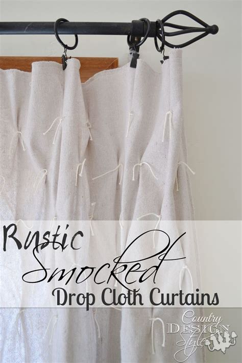 rustic smocked drop cloth curtains drop cloth curtains