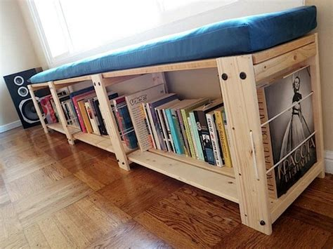 bookcase with seat cushion design ideas