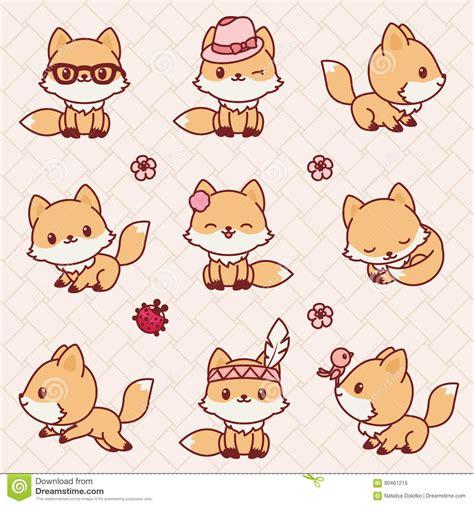 imagenes kawaii de zorros raposas de kawaii ilustra 231 227 o do vetor imagem 90461215