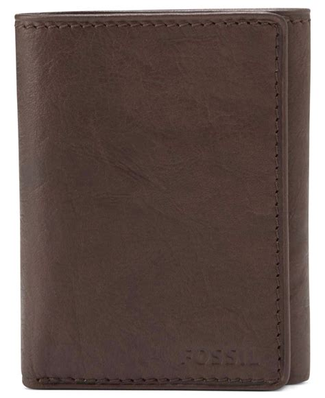 Fossil Ingram Trifold Brown Wallet fossil ingram capacity trifold leather wallet in brown for lyst