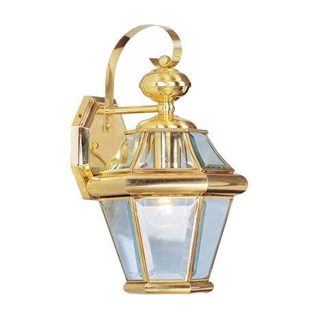 Brass Outdoor Lighting Shop Livex Lighting Georgetown 15 In H Polished Brass Medium Base E 26 Outdoor Wall Light At