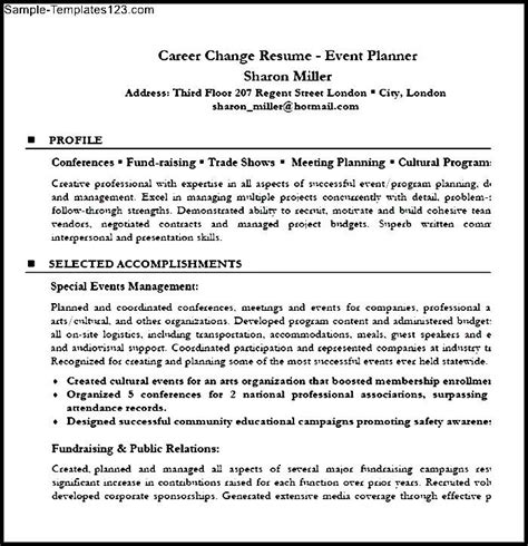 career change resume event planner resume sle pdf