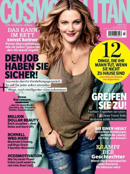 Drew Barrymore On March Cover Of by Drew Barrymore Cosmopolitan Magazine Cover Germany