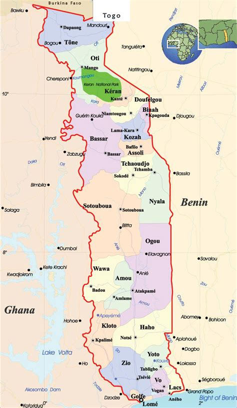 togo on a map detailed administrative map of togo with cities togo
