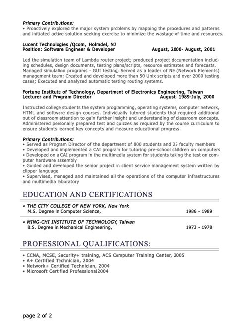 exle of professional resume format professional level resume sles resumesplanet
