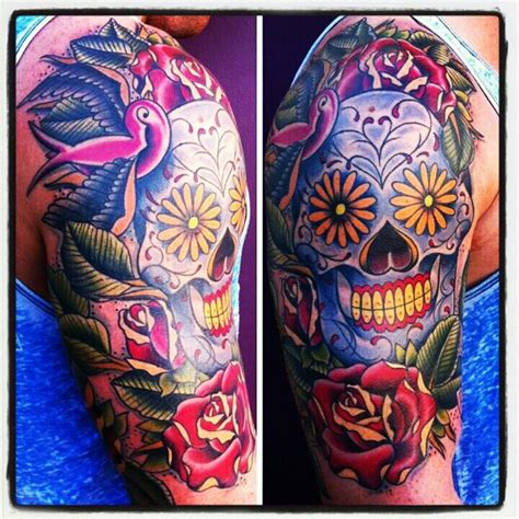 sugar skull sleeve tattoos sugar skull day of the dead half sleeve tattoos